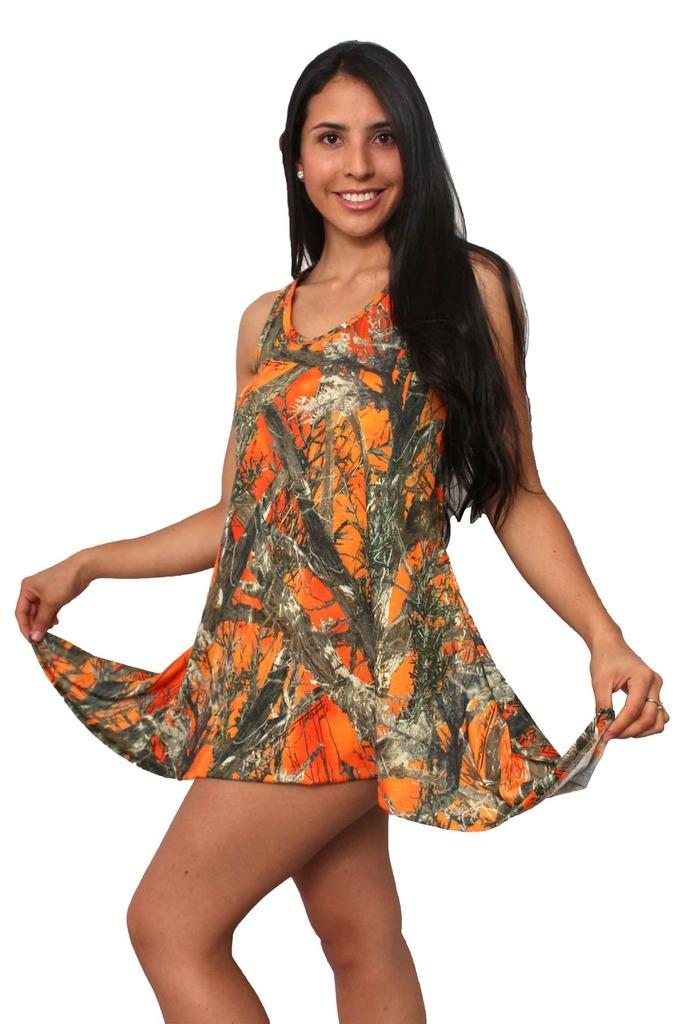 Women's Camo Flare Dress Authentic True Timber Orange