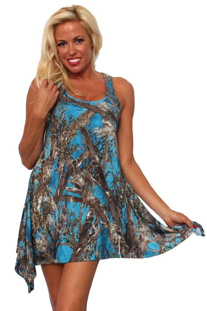 Women's Camo Flare Dress Authentic True Timber Blue