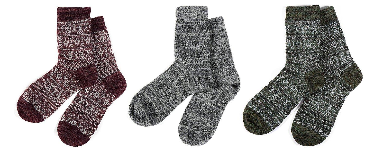 Men's High Quality Crew Quarter Winter Wool Socks Fashion Design Many Colors - 3 Packs