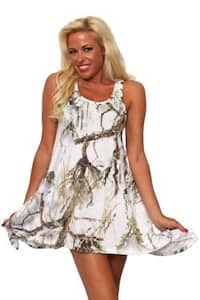 Women's Camo Flare Dress Authentic True Timber White