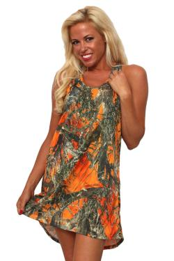 Women's Camo Tank Dress Authentic True Timber Orange