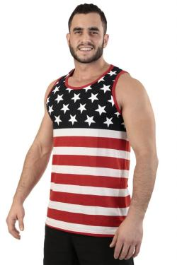Men's USA Flag Athletic Tank Top Stars & Stripes - Thumbnail 0