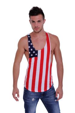 Men's USA Flag Racer Back Tank Top Stars & Stripes Gym Workout - Thumbnail 0
