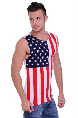 Men's USA Flag Sleeveless Shirt Star & Stripes American Pride - Thumbnail 0