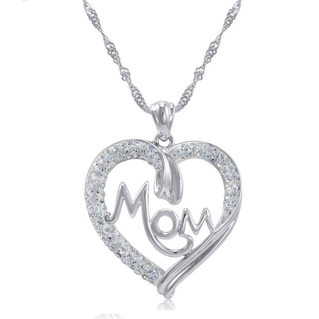 Amanda Rose Sterling Silver Mom in Heart Pendant-Necklace made with Swarovski Crystals