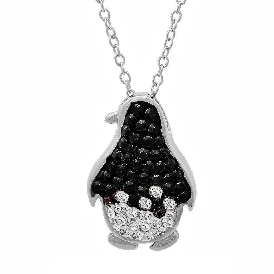 Amanda Rose Sterling Silver Black and White Penguin Pendant-Necklace embelished with Swarovski Crystals