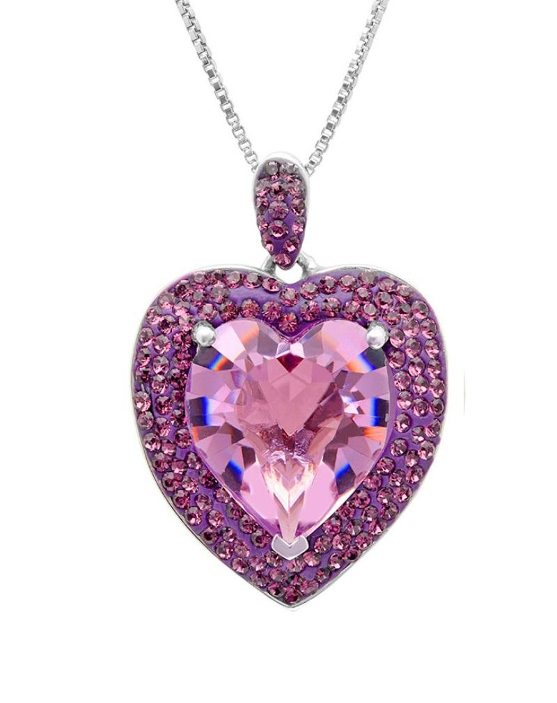 Amanda Rose Sterling Silver Heart Pendant made with Austrian Crystals