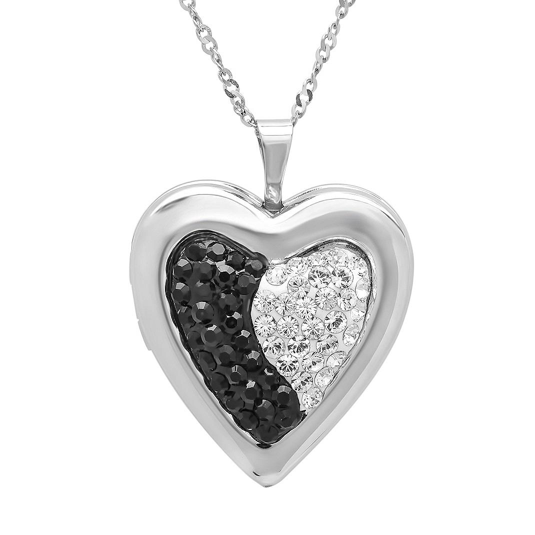 Amanda Rose Sterling Silver Black and White Heart Locket Pendant made with Swarovski Crystals