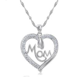 Amanda Rose Sterling Silver Mom in Heart Pendant-Necklace made with Swarovski Crystals - Thumbnail 0