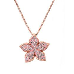 Amanda Rose Rose Gold-Plated Sterling Silver Flower Pendant Made With Austrian Crystals - Thumbnail 0