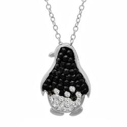 Amanda Rose Sterling Silver Black and White Penguin Pendant-Necklace embelished with Swarovski Crystals