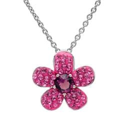 Amanda Rose Sterling Silver Pink Flower Pendant Necklace made with Austrian Crystals - Thumbnail 0