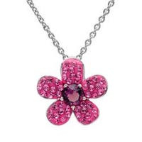 Amanda Rose Sterling Silver Pink Flower Pendant Necklace made with Austrian Crystals