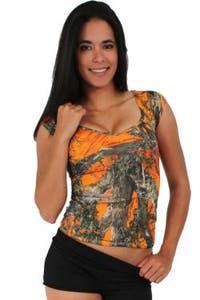 Women's Juniors Camo V-Neck Shirt Authentic True Timber ORANGE