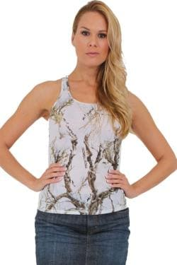 Women's Juniors Camo Racer Back Tank Top Authentic True Timber WHITE - Thumbnail 0