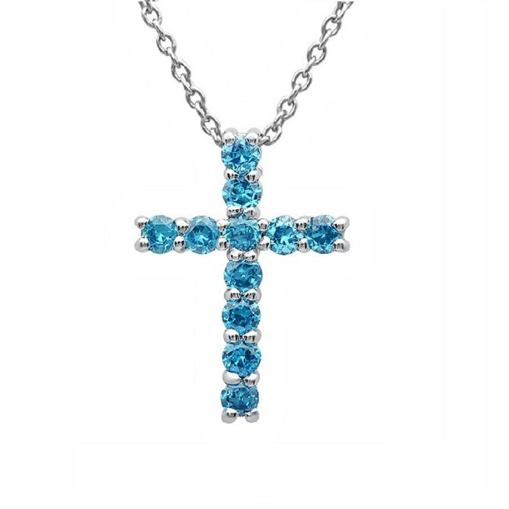 Amanda Rose Sterling Silver Cross Pendant-Neckalce made with Blue Austrian Crystals