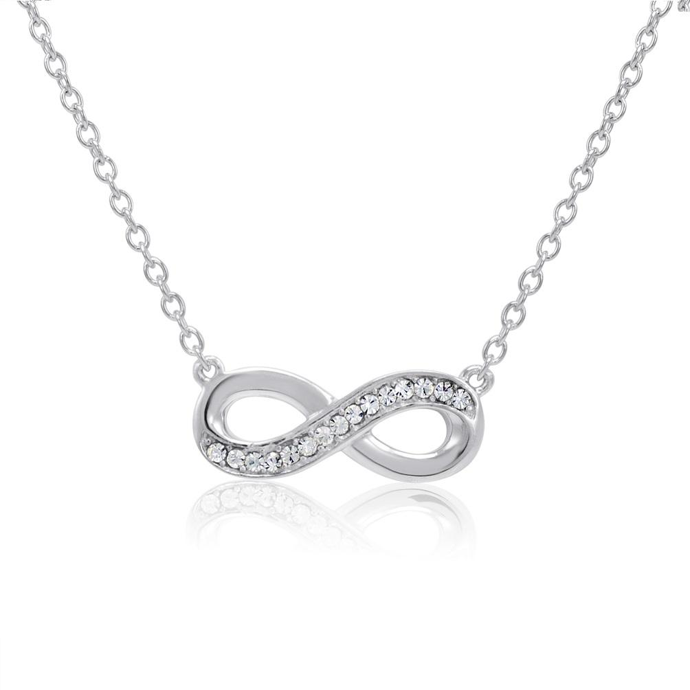 Amanda Rose Sterling Silver Infinity Necklace made with Austrian Crystals - Thumbnail 0
