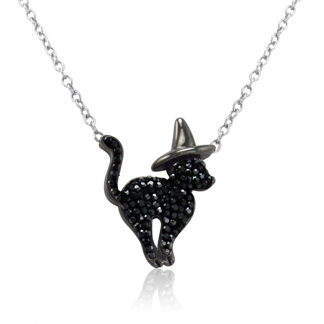 Amanda Rose Sterling Silver Cat in Flying Witch Hat Necklace made with Swarovski Crystals on a 17 inch