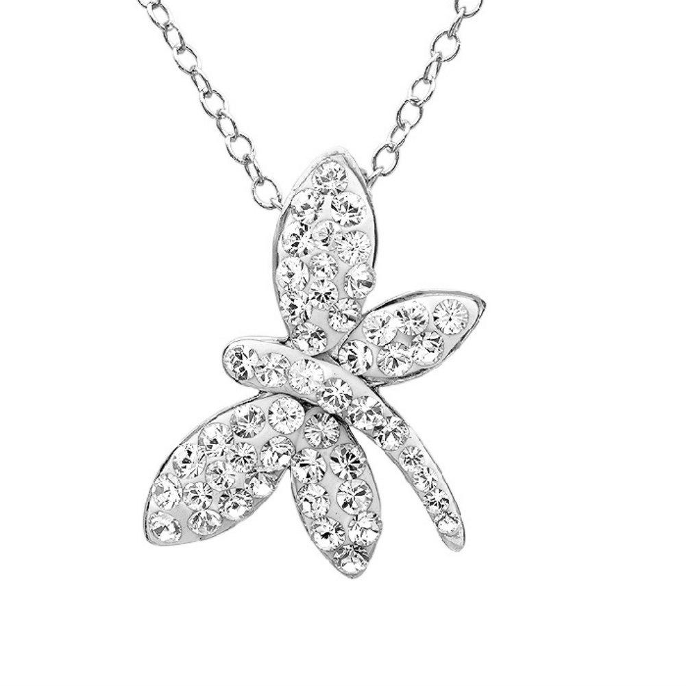 Amanda Rose Sterling Silver Dragonfly Pendant-Necklace made with Austrian Crystals