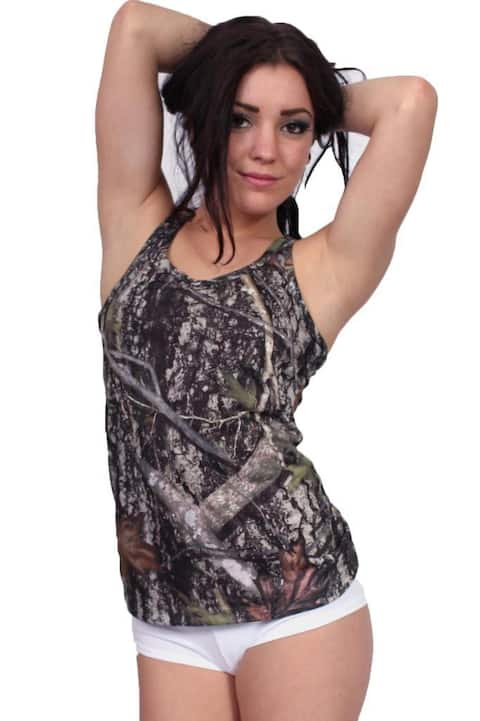 Women's Juniors Camo Racer Back Tank Top Authentic True Timber GREEN