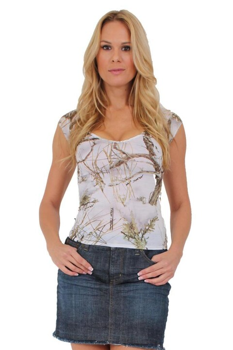Women's Juniors Camo V-Neck Shirt Authentic True Timber WHITE