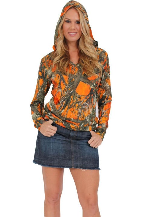 Women's Juniors Authentic True Timber Pullover Hoodie Camouflage Hunt ORANGE