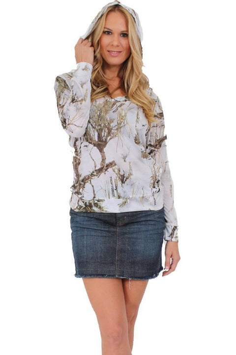 Women's Juniors Authentic True Timber Pullover Hoodie Camouflage Hunt WHITE