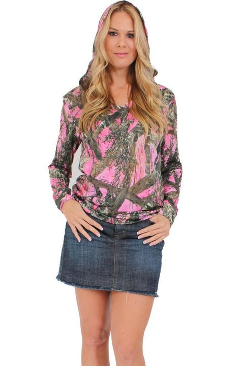 Women's Juniors Authentic True Timber Pullover Hoodie Camouflage Hunt PINK