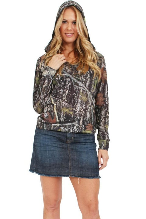 Women's Juniors Authentic True Timber Pullover Hoodie Camouflage Hunt GREEN