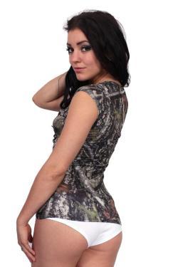 Women's Juniors Camo V-Neck Shirt Authentic True Timber GREEN