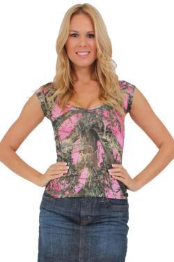Women's Juniors Camo V-Neck Shirt Authentic True Timber PINK - Thumbnail 0