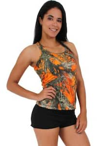 Women's Juniors Camo Racer Back Tank Top Authentic True Timber ORANGE