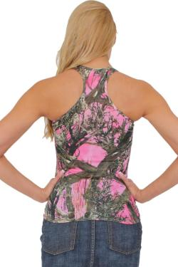 Women's Juniors Camo Racer Back Tank Top Authentic True Timber PINK - Thumbnail 0