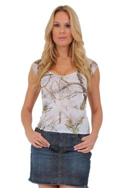 Women's Juniors Camo V-Neck Shirt Authentic True Timber WHITE - Thumbnail 0