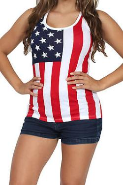 Women's USA Flag Tank Top Stars & Stripes Pride