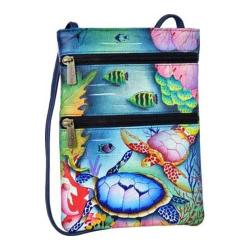 Women's Anuschka Mini Double Zip Travel Crossbody Ocean Treasures