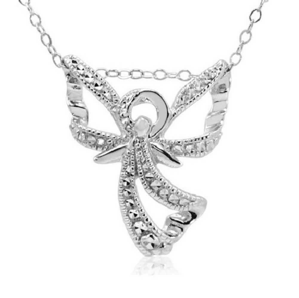 Amanda Rose Collection Diamond Angel Pendant-Necklace set in Sterling Silver