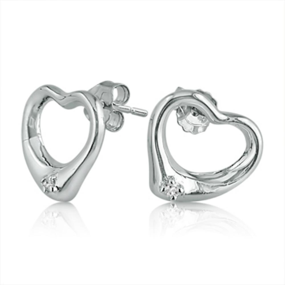 Amanda Rose Collection Sterling Silver Diamond Heart Stud Earrings
