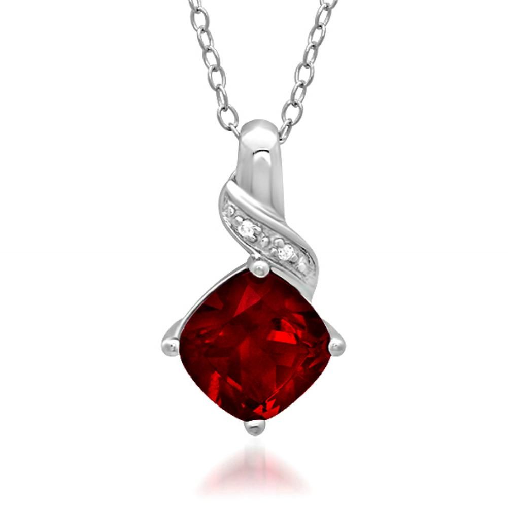 Amanda Rose 2 1/2ct Created Ruby and Diamond Pendant set in Sterling Silver