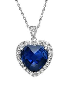 Amanda Rose 12ct tgw Sterling Silver Created Blue and White Sapphire Heart of the Ocean  Pendant-Necklace