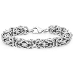 Oxford Ivy Mens Byzantine Link Stainless Steel Bracelet - Thumbnail 0