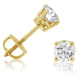 Amanda Rose 1/2ct tw IGI Certified Diamond Stud Earrings in 14K Yellow Gold with Screw Backs