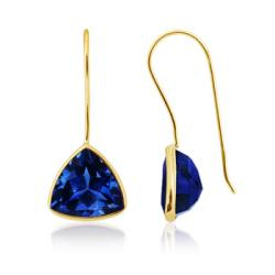 Angara 10mm Lab Created Trillion Blue Sapphire Fish-Hook Earrings in 14K Yellow Gold