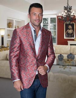 Men's Manzini Red Woven sport coat