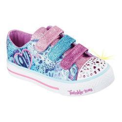 Girls' Skechers Twinkle Toes Shuffles Sweet Spirit Sneaker Turquoise/Purple
