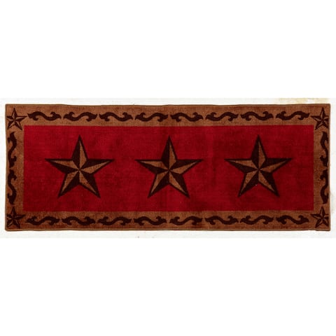 HiEnd Accents Star Print Red 24 x 60-inch Acrylic Rug - 24 x 60