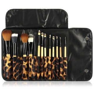 Zodaca 12-piece Professional Cosmetic Makeup Brushes Set with Black/ Brown Leopard Pouch Bag