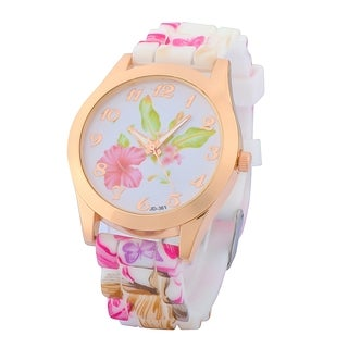 Zodaca White/ Pink Flower Print Silicone Jelly Sports Watch