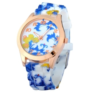 Zodaca Women's White and Blue Flowers Print Silicone Jelly Sports Watch