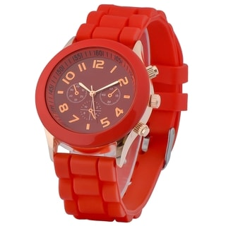 Zodaca Red Analog Quartz Silicone Jelly Sports Watch